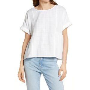 Madewell Cuffed Sleeve Shirred Top in White